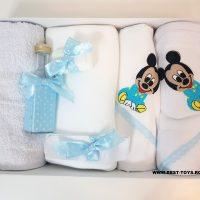 Trusou pentru botez Baby Mickey Mouse Blue 7 PIESE